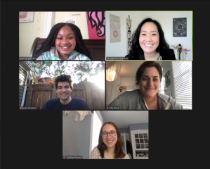 Photo of Spring 2021 UMass Amherst undergraduate student research team members Sean Dunham ('23), Lynn-Tyi'a Porter ('22), Siobhan Powers ('21), and Ella Stock ('23) at our end-of-semester party over Zoom.